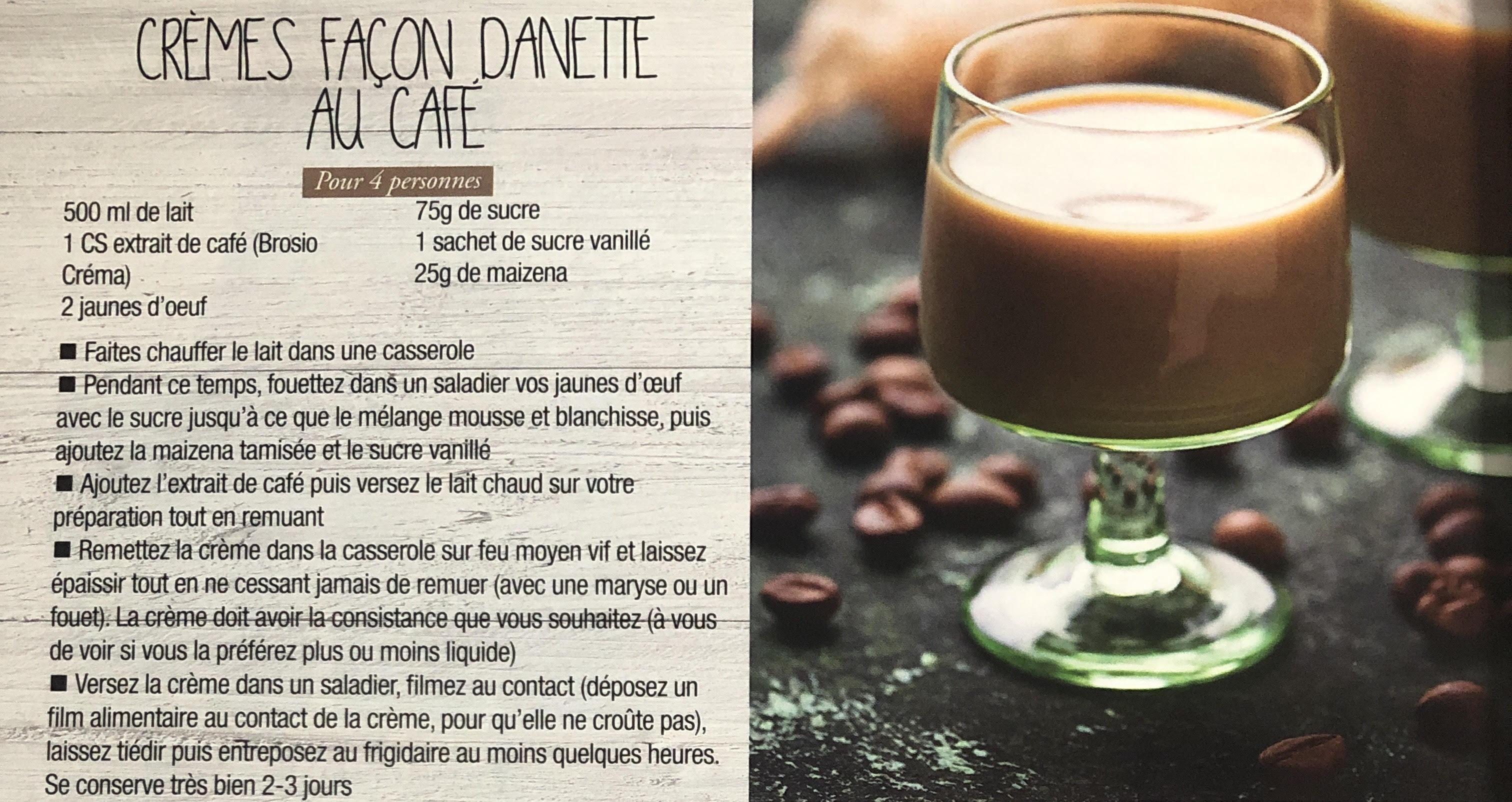 Recette crème façon Danette au Café